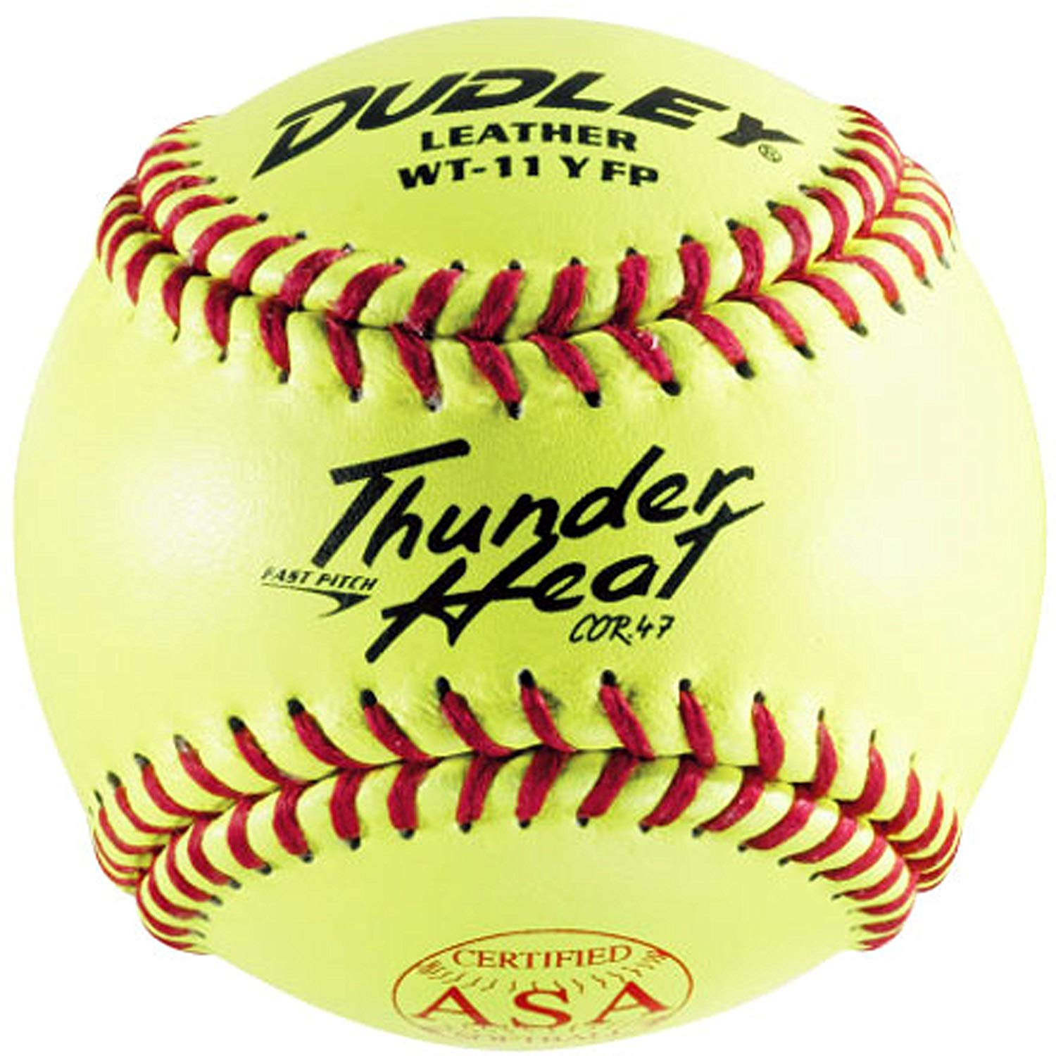 dudley-thunder-11-inch-asa-softballs-1-doz WT-11YFP  026307906487 Thunder Heat Series. ASA Fast Pitch. Top grade Yellow leather cover