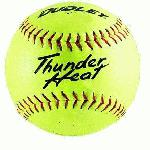 Dudley Thunder Heat 12 NFHS Fastpitch Softballs Composite Cover Core .47 Compression 375lbs 1 doz. The Thunder Heatr poly center, fast pitch, high school softball uses a precision blended crosslinked polyurethane system and is designed for high density and maximum resiliency.