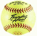 Dudley Thunder Heat Dual Stamp ASA-NFHS Fastpitch Softballs 47 Cor (1 dozen) : Thunder Heat Series Fast Pitch. Stamped with ASA and NFHS Logo. Fast Pitch Top grade Yellow leather cover with Red Stitch. Unique gluing process that bonds cover to poly core. COR: .47, Compression: 375 lbs.