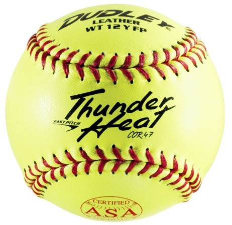 dudley-thunder-heat-dual-stamp-asa-nfhs-fastpitch-softballs-47-cor-1-dozen 4D-147Y  026307430685 Dudley Thunder Heat Dual Stamp ASA-NFHS Fastpitch Softballs 47 Cor 1