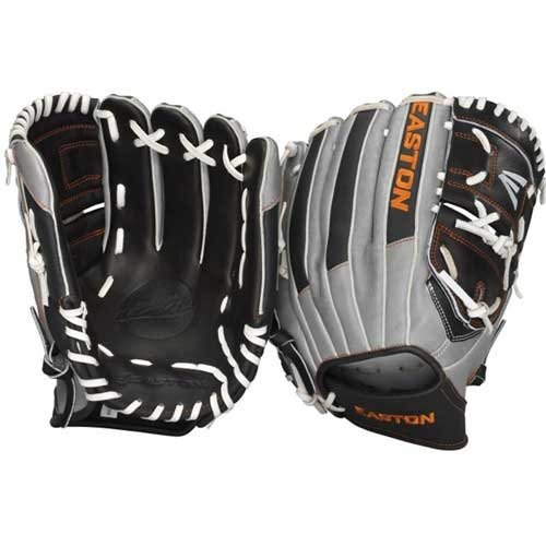 Easton Mako Baseball Glove EMK1200LE 12 inch (Right Hand Throw) : Easton Mako Baseball Glove 12 inch. Hyper lite technology built to lower centrifugal force and increase hand speed. Syntel Hide offers breathable microfiber less then half the weight of leather. Japanese Premium Kip leather with pro break-in quality. Constructed with USA Tanned Rawhide Pro grade lace with a tensile strength of 100 LB's for maximum durability. Soft yet durable Pro Fit Liner.