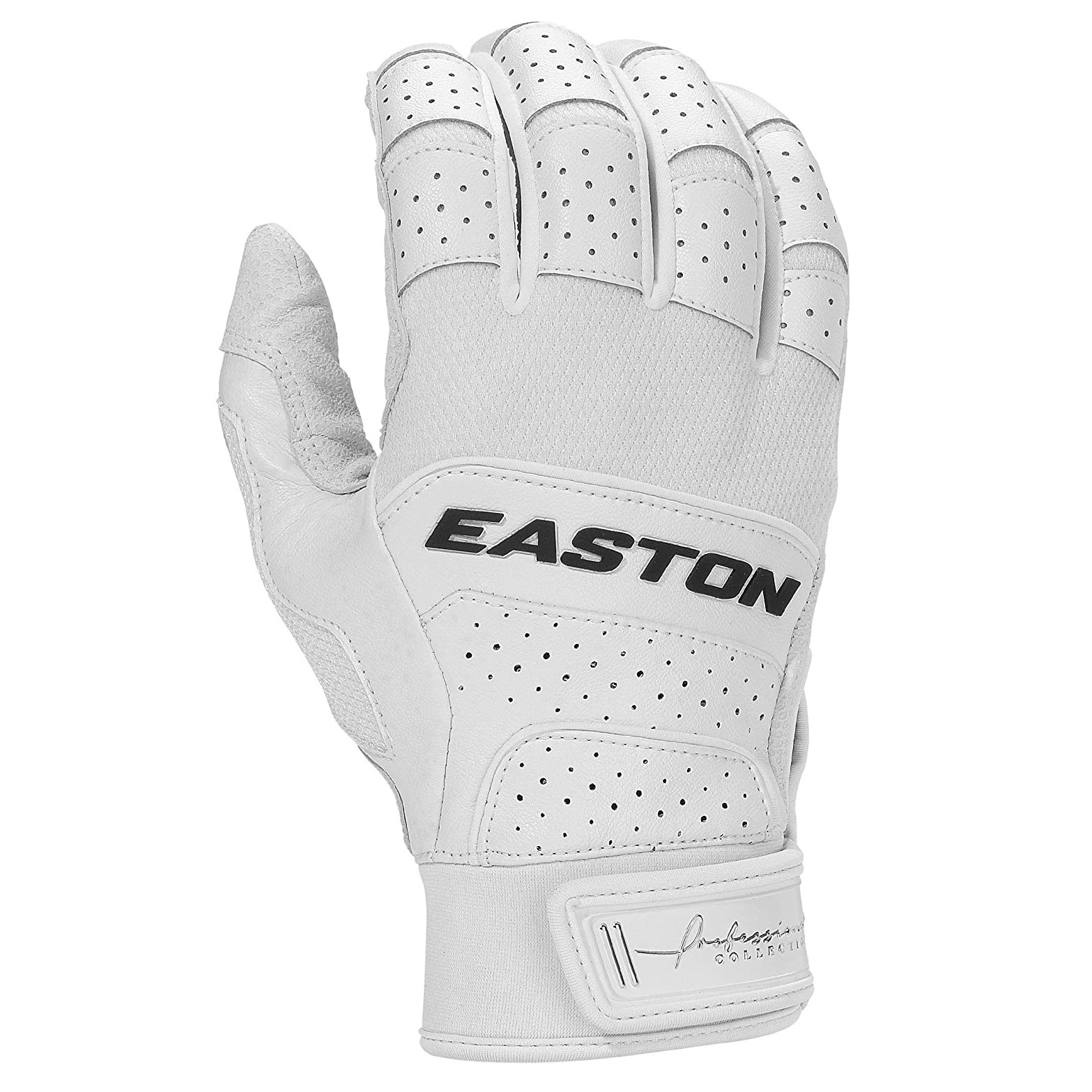 easton-professional-collection-batting-gloves-pair-adult-large A121229L   Premium grade digitally embossed Cabretta sheepskin leather palm Smooth microfiber combined