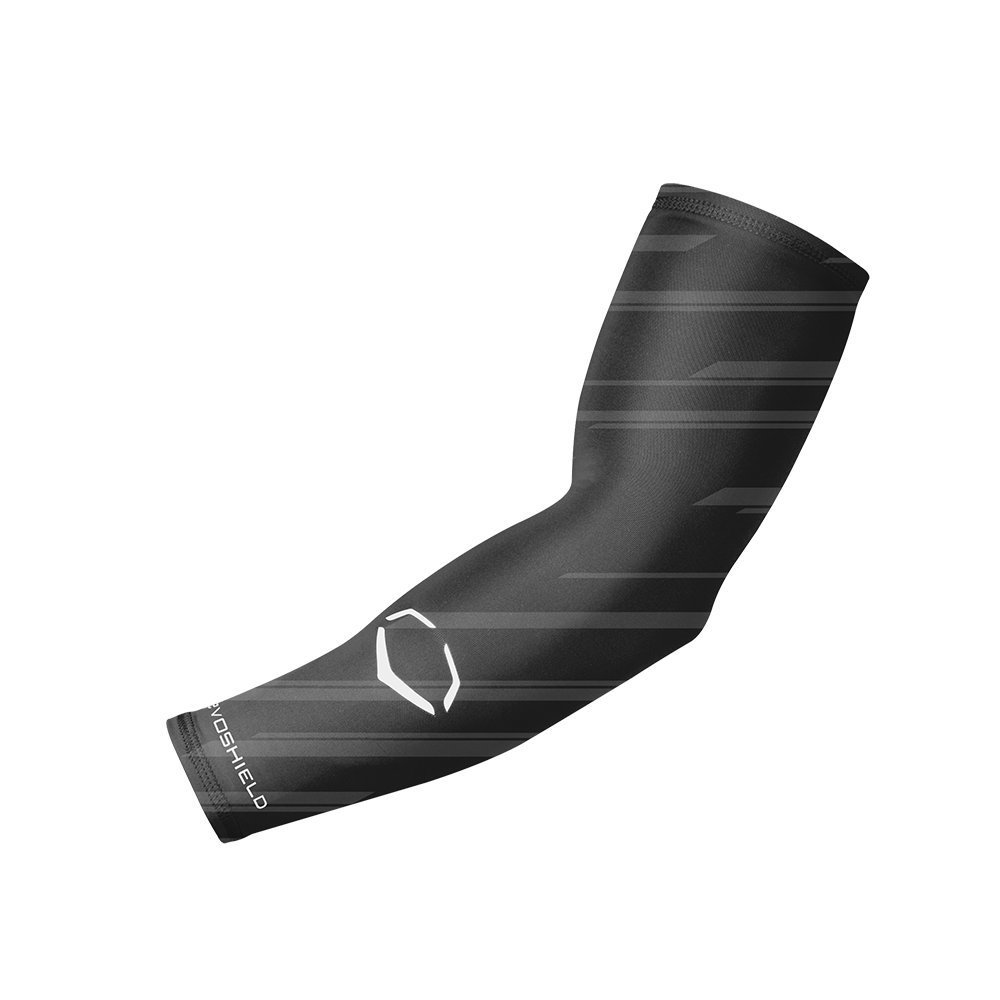 evoshield-compression-speed-stripe-arm-sleeve-black-small-medium WTV1045180003S  y EvoShield Speed Stripe Compression Arm Sleeve• Improves circulation for better muscle