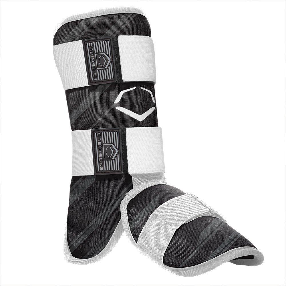 evoshield-mlb-batters-speed-stripe-leg-guard-black-adult 2046110003  840041114775 Custom-molding gel-to-shell protective leg shield and protective foot shield begin soft