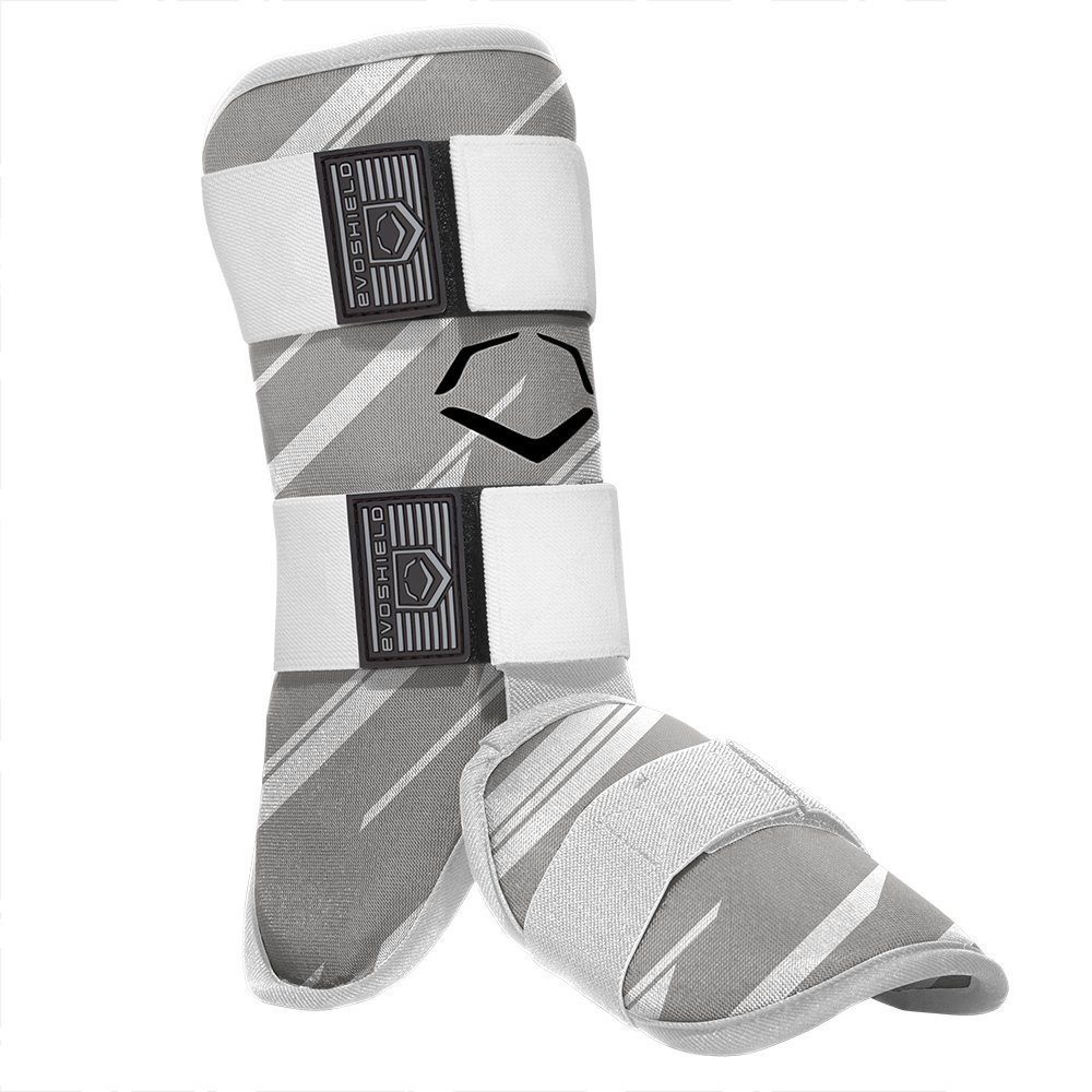 evoshield-mlb-batters-speed-stripe-leg-guard-grey-adult 2046110063  8840041114782 Custom-molding gel-to-shell protective leg shield and protective foot shield begin soft