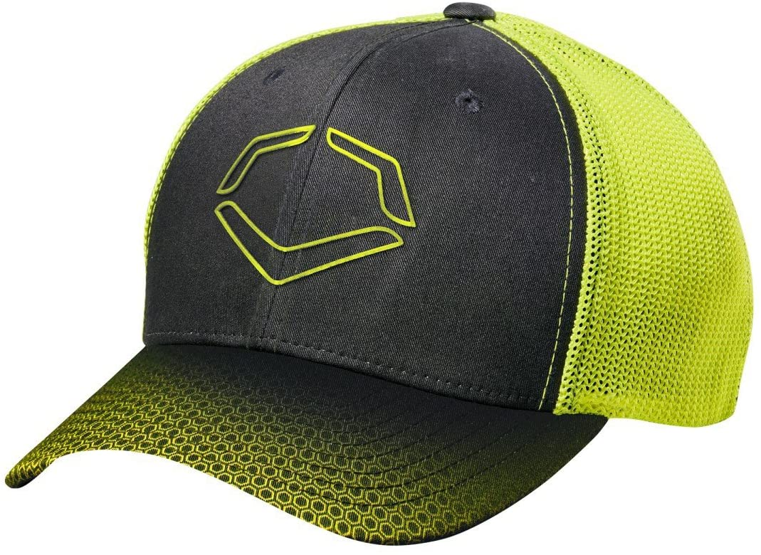 evoshield-neon-onslaught-flex-fit-baseball-hat-small-medium WTV9708BNLGXL  887768645298 Polyester/Cotton/Spandex Blend Sonic weld EvoShield logo Features Sublimated bill pattern; pre-formed
