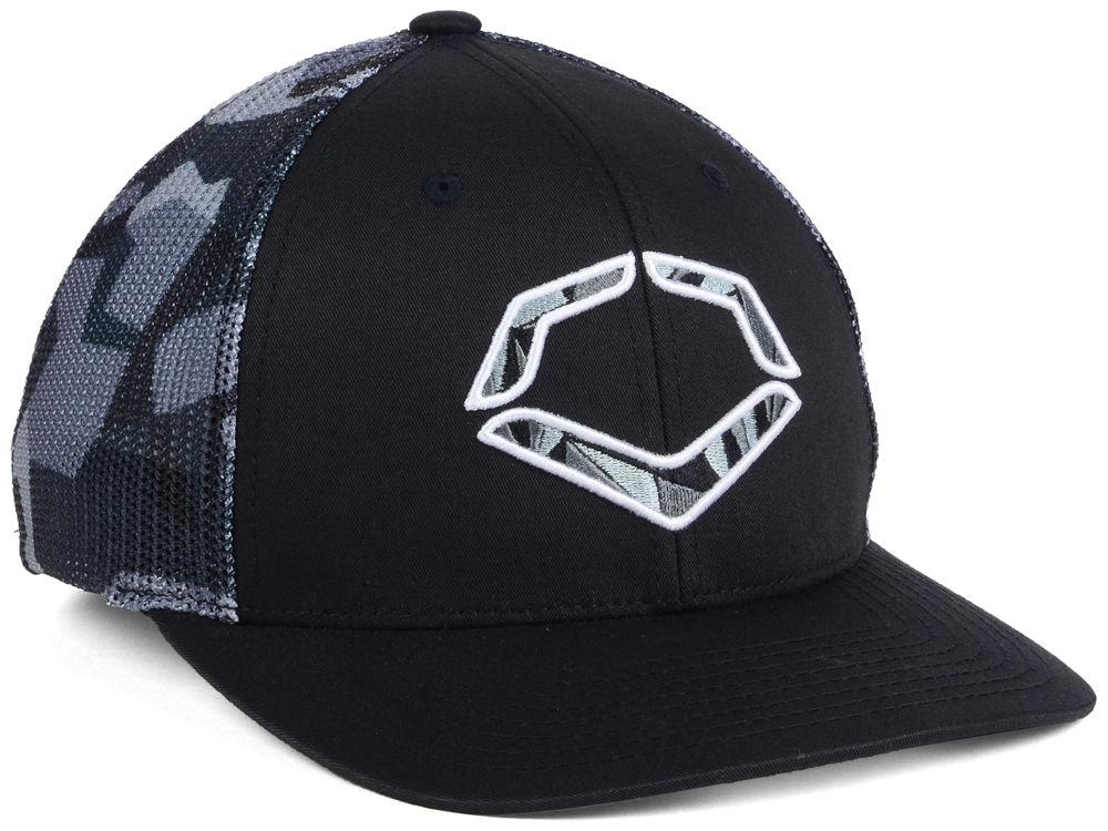 evoshield-shrapnel-flex-fit-trucker-hat-black-large-x-large WTV1036470057LGXL  840041121865 Mid crown structured fit Embroidered EvoShield logo on front Flex-fit band