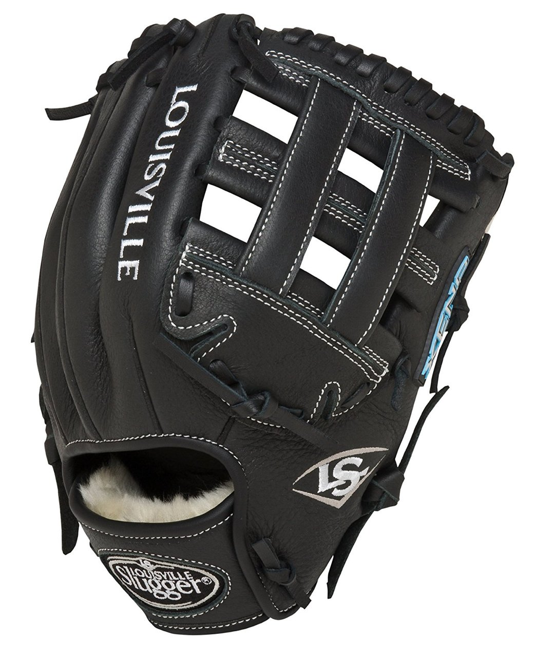 louisville-slugger-11-75-inch-fg-xeno-softball-infielders-gloves-black-right-hand-throw FGXN14-BK117-RightHandThrow  044277007980 Size 11.75 Softball Infielders Gloves Premium grade oil-treated leather for soft