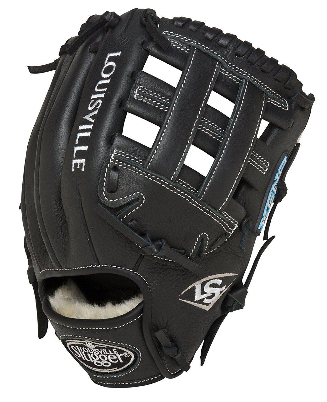 louisville-slugger-11-75-inch-fg-xeno-softball-infielders-gloves-black-right-hand-throw FGXN14-BK117-RightHandThrow Louisville 044277007980 Size 11.75 Softball Infielders Gloves Premium grade oil-treated leather for soft
