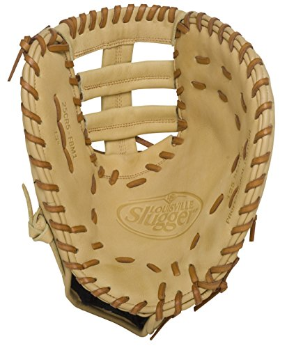 Louisville Slugger 125 Series Cream First Base Mitt 13 inch (Left Handed Throw) : Louisville Slugger 125 Series First Base Mitt. Built for superior feel and an easier break-in period, the 125 Series is constructed with extra-tough dye-through lacing and genuine cowhide leather to provide unmatched strength and durability while wicking away perspiration with our Slugger Touch finger lining.