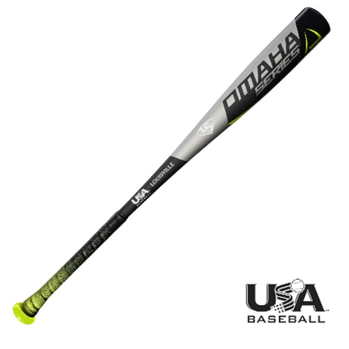 """The new Omaha 518 (-10) 2 5/8 USA Baseball bat from Louisville Slugger is designed to help players dominate at the highest levels, the way the Omaha series has dominated the scene -- year after year, game after game. Product Features Meets new USA baseball youth standard 1pc 7-Series alloy construction that delivers a huge sweet spot Durable end cap design Synthetic leather fade grip 7/8"""" standard handle Specs Product SKU(s) Barrel Diameter 2 5/8 Inches Series Omaha Certification USA Baseball Barrel Material Alloy Model Year 2018 Weight Drop -10 Note Manufacturing tolerances, performance considerations, and grip weight may cause variations from the listed weight."""