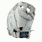 p33 catcher's mitt Dual post web Memory foam wrist lining White and Aqua blue Female-specific patterns/p