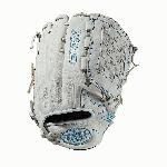 12.75 outfield glove Closed weave web Memory foam wrist lining White and Aqua blue Female-specific patterns Needing minimal break-in and designed with memory foam wrist lining and patterns specific to female athletes