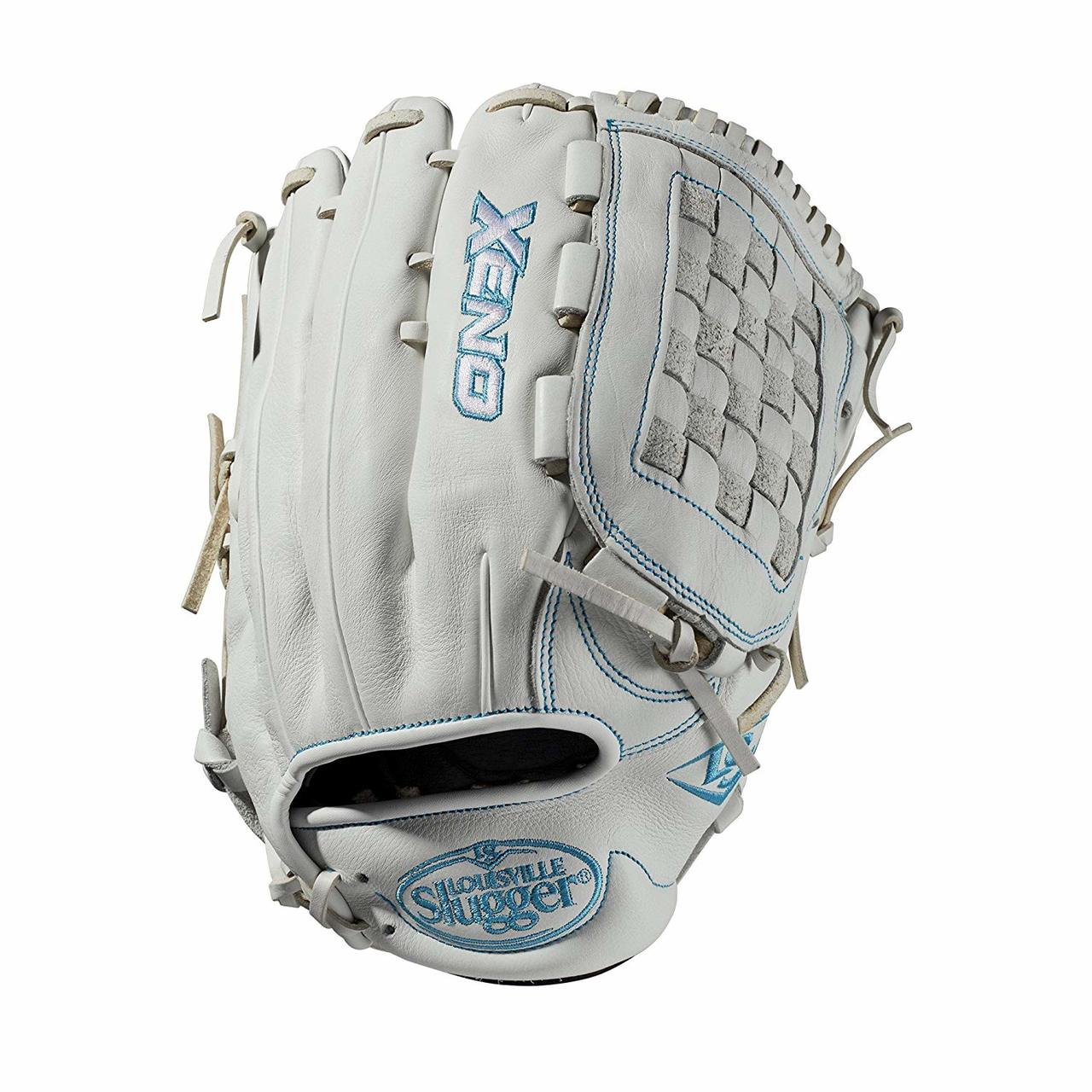louisville-slugger-2019-xeno-fastpitch-softball-glove-12-75-right-hand-throw WTLXNRF191275-RightHandThrow  887768711375 12.75 outfield glove Closed weave web Memory foam wrist lining White