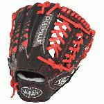 11.50 Inch Pattern Colorway Black Grey Scarlet Red Conventional Open Back Dye-Through Lacing for Added Durability Full Leather Finger Linings Hybrid Leather Design - Top-Grade Leather Combined with Performance Mesh Back Infield Model Kanga Weave - Adds Structure to Mesh without Adding Excess Weight Modified Trap Web Professional-Grade Oil-Treated Steerhide Leather Palm and Web Zero-Gravity Performance Mesh Back - Offers Quicker Break-In and Ultra Lightweight Feel