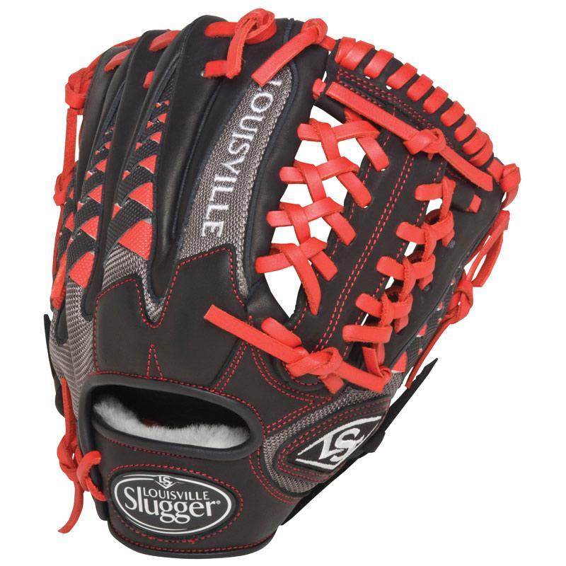 louisville-slugger-fghdsr5-hd9-scarlet-baseball-glove-11-5-inch-right-hand-throw FGHDSR5-1150-RightHandThrow Louisville 044277052287 11.50 Inch Pattern Colorway Black Grey Scarlet Red Conventional Open Back