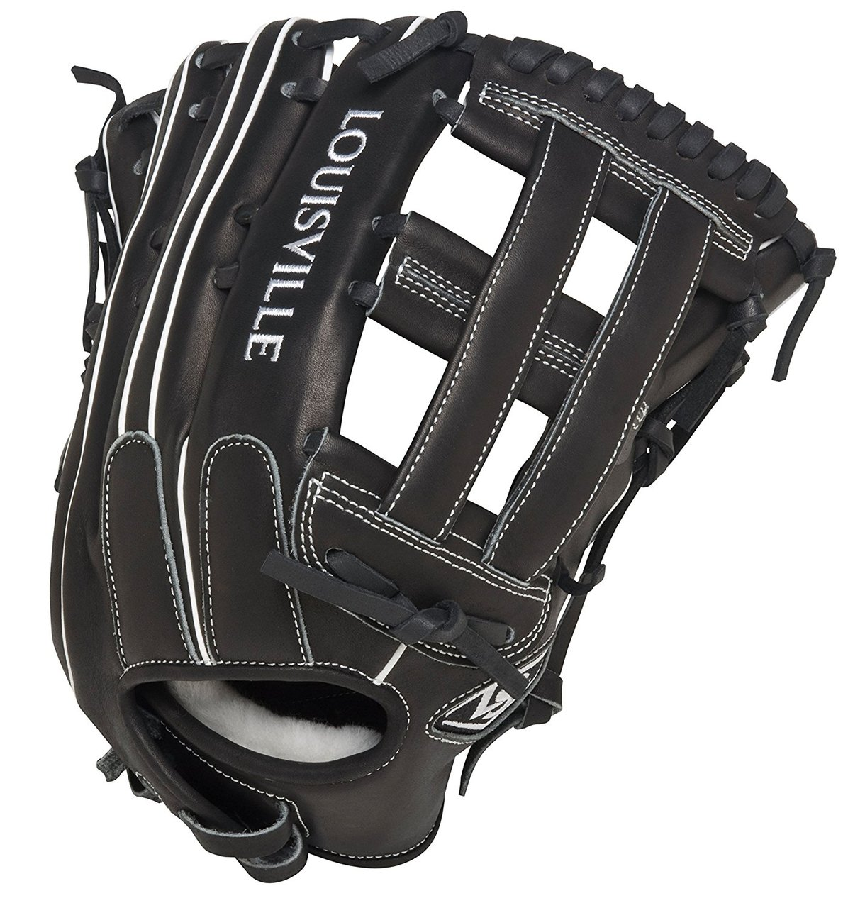 louisville-slugger-fgszbk5-super-z-black-fielding-glove-13-5-inch-left-hand-throw FGSZBK5-1350-Left Handed Throw  044277051952 Professional-grade oil infused leather Combines unmatched durability with ultra quick break-in