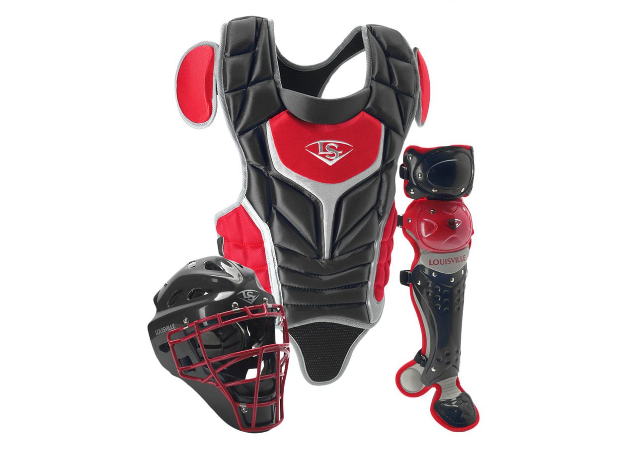 louisville-slugger-intermediate-pg-series-5-catchers-set-black-scarlet PGS514-STIBS Louisville 044277012557 Made from extra-tough lightweight materials that keep you protected while easily