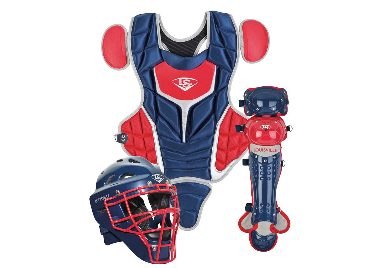 louisville-slugger-intermediate-pg-series-5-catchers-set-navy-scarlet PGS514-STINS Louisville 044277012564 Made from extra-tough lightweight materials that keep you protected while easily