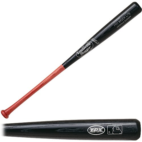 Louisville Slugger baseball bat with a lighter weight. Features the legendary name and high quality. Medium size barrel. Professional grade timber and hickory finish.