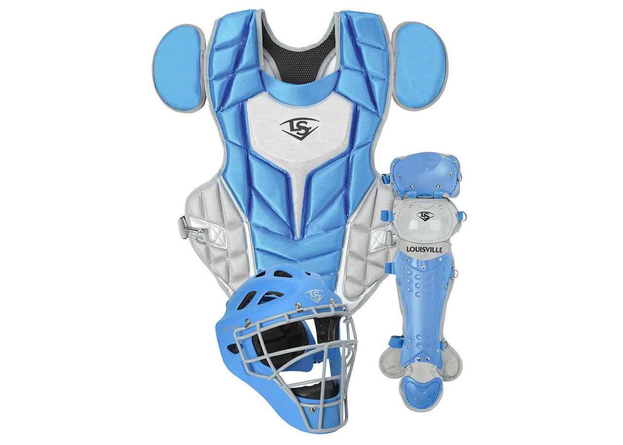 louisville-slugger-series-5-3-piece-catchers-set-intermediate-columbia-blue-gray PGS514-STICA Louisville 044277134907 Made from extra-tough lightweight materials that keep you protected while easily