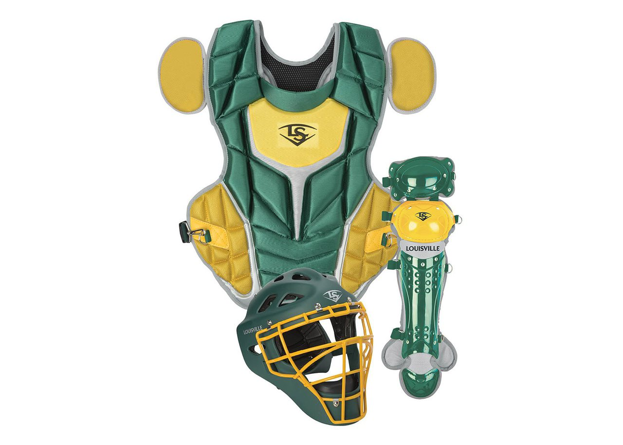 louisville-slugger-series-5-3-piece-catchers-set-intermediate-dk-green-vegas-gold PGS514-STIDV Louisville 044277134884 Made from extra-tough lightweight materials that keep you protected while easily