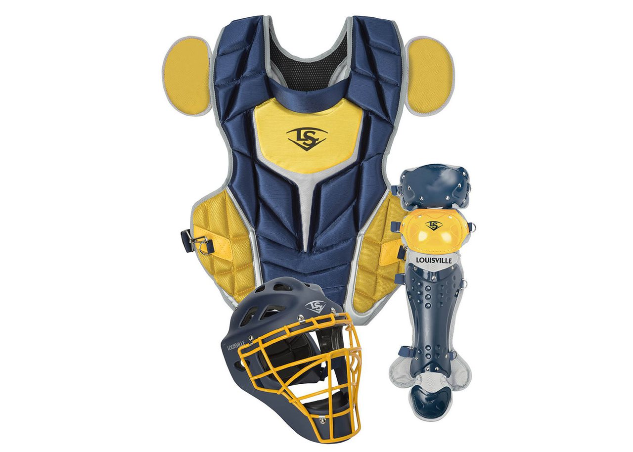 louisville-slugger-series-5-3-piece-intermediate-baseball-catchers-set-navy-vegas-gold PGS514-STIND Louisville 044277134891 Made from extra-tough lightweight materials that keep you protected while easily