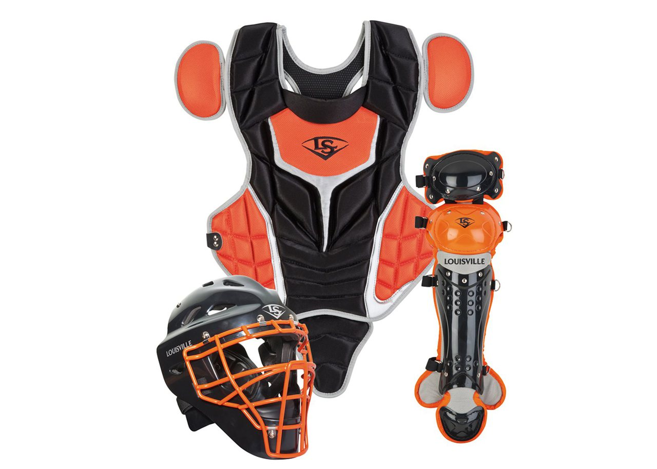 louisville-slugger-series-5-intermediate-fastpitch-softball-catchers-set-black-orange PGFPIS6-BO Louisville 044277135232 Made from extra-tough lightweight materials that keep you protected while easily