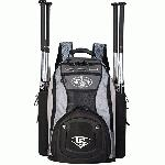 Louisville Slugger Series 9 Stick Pack Back Pack EBS914-SP : Inverted cargo hatch. Embroidered logos. Hold minimum 4 bats. High-end hardware. Tri-vent air flow compartment. Removable personalization sleeve. Combo dobby, Rip-stop, 600D material. Ergonomic molded handle. Contoured and perforated air-flow padding. Scratch-free sunglass compartment. Form-fit neoprene bat holders. Size: 14W x 7D x 21H.
