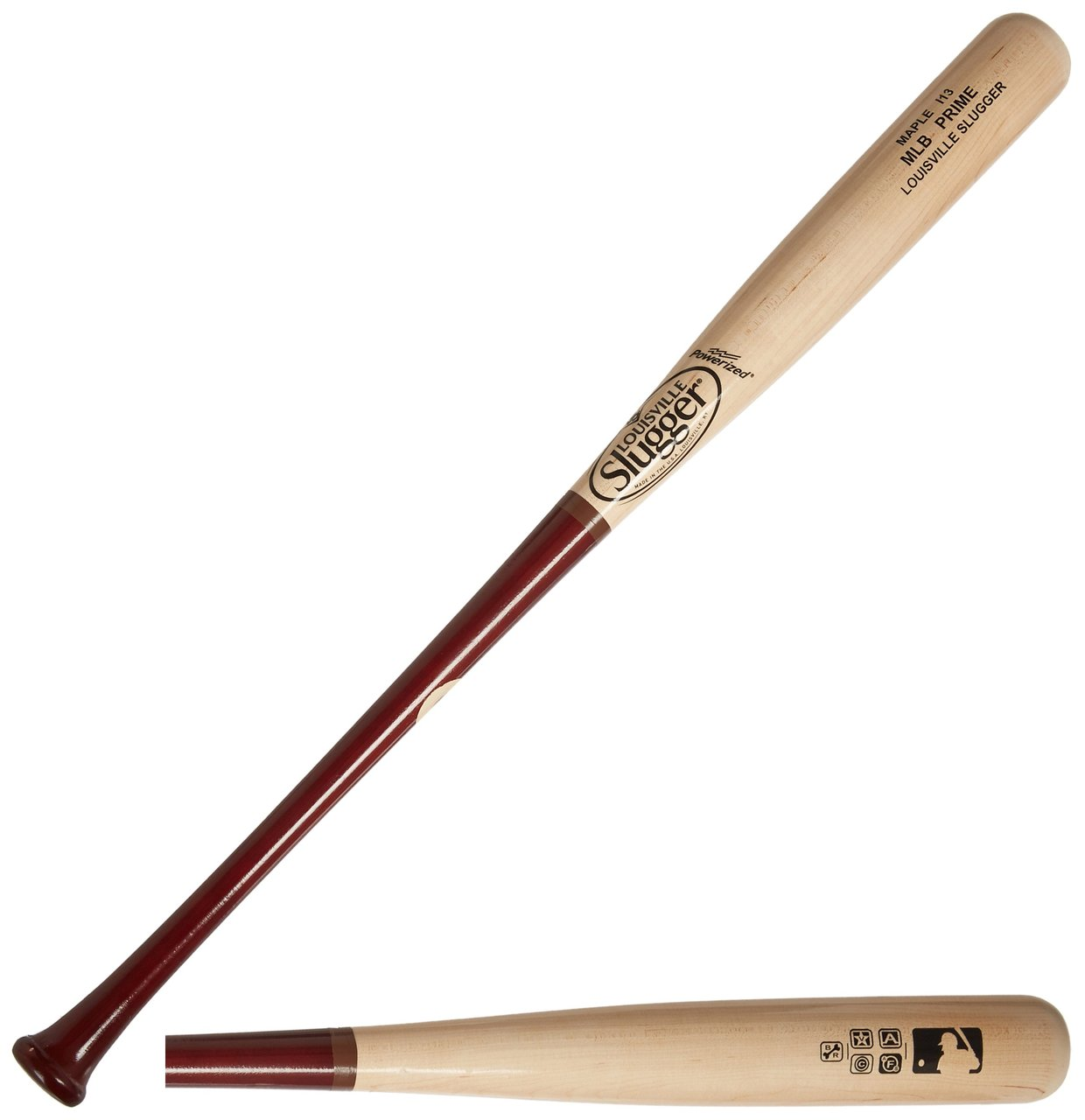 Louisville Slugger wood baseball bat MLB prime maple i13 turning model natural barrel hornsby handle. Inked. Bone Rubbed. HD Finished - MLB tested, MLB approved. Identical in quality and craftsmanship to what we send to the big leagues, MLB Prime features the top 3% of all wood we harvest, straighter and harder than any other bat – MLB Prime is big league wood. Graded for quality at 6 different stages from the time the tree is cut until the bat is finished, including the final step – the MLB ink dot slope of grain test. Veneer wood logs ensure maximum straightness and eliminate natural defects developed during tree growth. Vacuum drying guarantees the entire billet is dried evenly and at a pace healthiest for the wood. Bone rubbing compresses every cell to ensure your bat is as hard as it can get. Advanced finishing process (HD Finish) provides the final touch, solidifying the manufacturing processes so your bat is identical to the bats used by big league guys. Maple, the species preferred by most pro players, features the ultimate surface hardness and provides an unmatched sound and feel at contact. Naturally harder, maple offers added strength at impact. Closed grains eliminate flaking, commonly seen with ash, allowing superior durability against delamination. The large barrel of the I13 – among the top 3 turning models order by the pros – is best suited for stronger hitters with quick hands who prefer a more end loaded swing weight. Power is the result with the increased force at batball impact providing added jump off the bat. -Handle: 1516 -Barrel: Large-Turning Model I13 End Loaded Swing Weight -Cupped: Yes -MLB Ink Dot: Yes