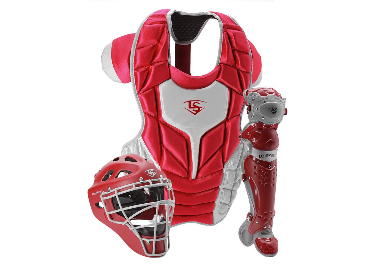 louisville-slugger-womens-intermediate-series-5-fastpitch-catchers-set-scarlet-grey PGFPIS6-SG Louisville 044277135294 Made from extra-tough lightweight materials that keep you protected while easily