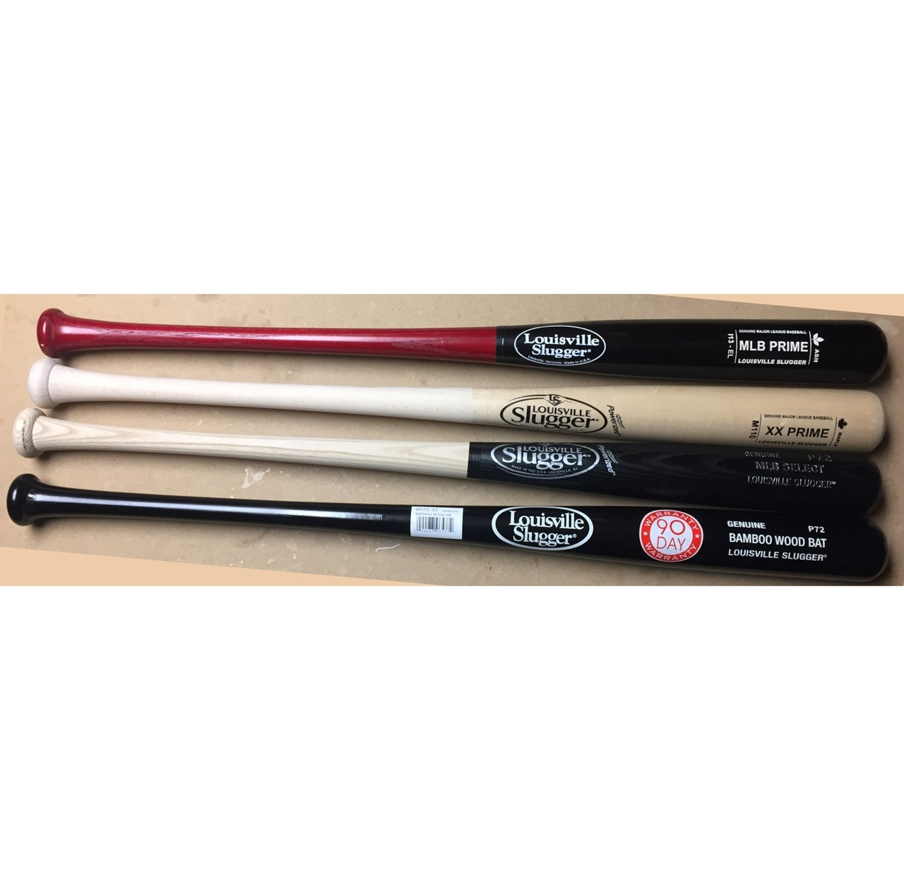 louisville-slugger-wood-bat-pack-33-inch-4-bats BATPACK-0003 Louisville  <p>one MLB prime one XX Prime one bamboo composite and one