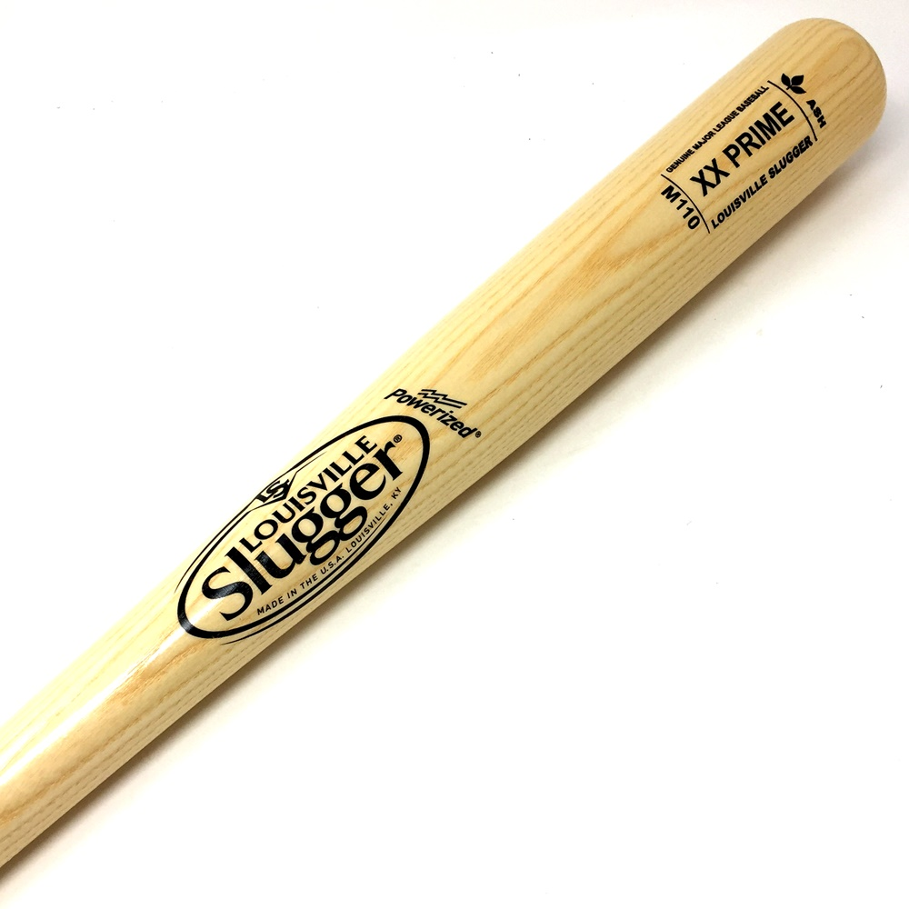 Classic Louisville Slugger wood baseball bat sold to the Major League Baseball minor league players, before Wilson Sporting goods bought Louisville Slugger. Cupped end. XX Prime Ash Wood. Straight Grain. Powerized. No ink dot.