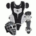 Louisville Slugger PGS514-STY Series 5 Youth Catchers Gear Set Helmet Features    Glossy finish   Moisture Wicking chin pad   NOCSAE approved   Size 6 3 8  - 7  Chest Protector Features    High-Density Foam padding   Over-the-shoulder harness   Precision pad design   Sizes 12  Leg Guard Features    Anatomically inspired   Double-knee design   Size 13