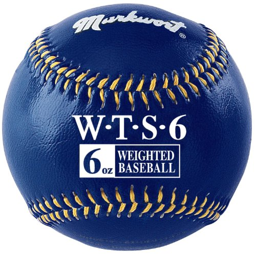 Markwort Weighted 9 Leather Covered Training Baseball (6 OZ) : Build your arm strength with Markwort training weighted baseballs. As you train gradually increase the weight of the ball as you build strength in your throwing arm. Color coded cover indicates the ball weight. Weighted baseballs are 9 inch circumference with varying weights. Leather cover, white stitching. Weighted core. Size of regulation baseballs are 9 and 5 oz.