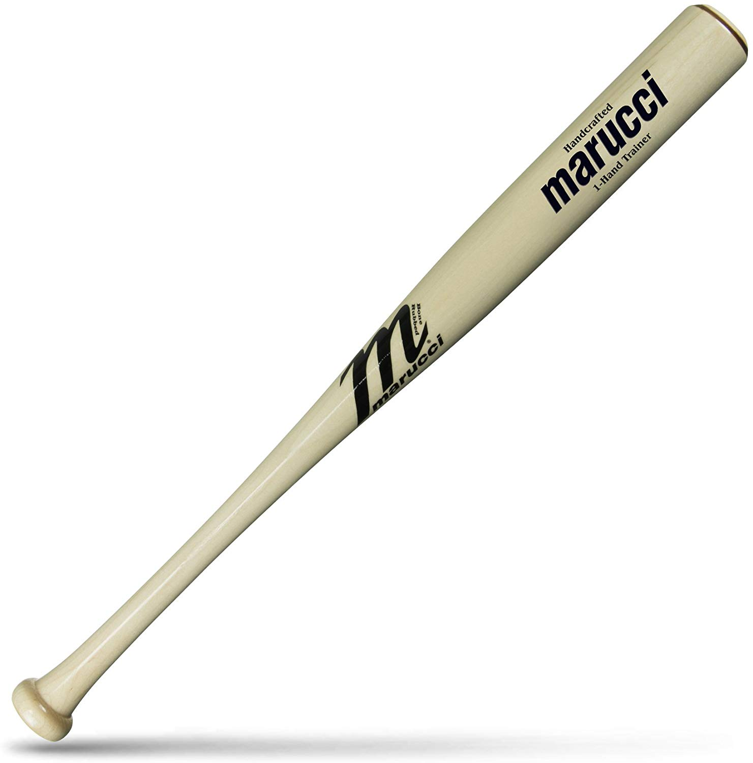 arucci 1-Hand Training BatFeatures: * Handcrafted from top-quality maple * Cut for use in drills to improve top-hand strength and hand-eye coordination * Weight: 15-17 oz. (weight can vary depending on wood density) * Knob: Traditional * Handle: Thick * Barrel: 2 1/4 * Length: 25