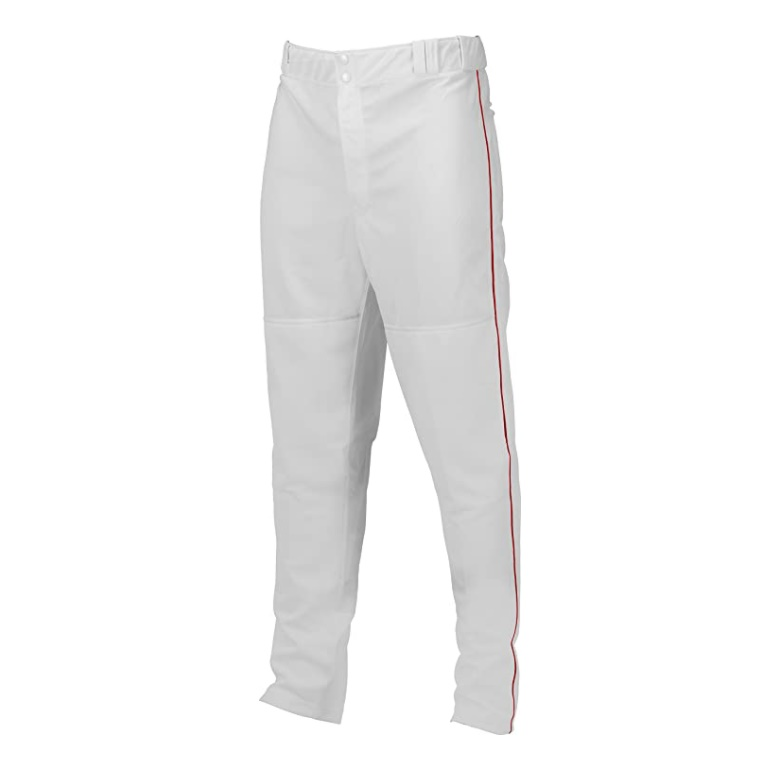 marucci-adult-elite-double-knit-piped-baseball-pant-white-red-medium MAPTDKPIP-WRD-AM   100% polyester double-knit fabrication. 290GM2 weight for longer and extending life.