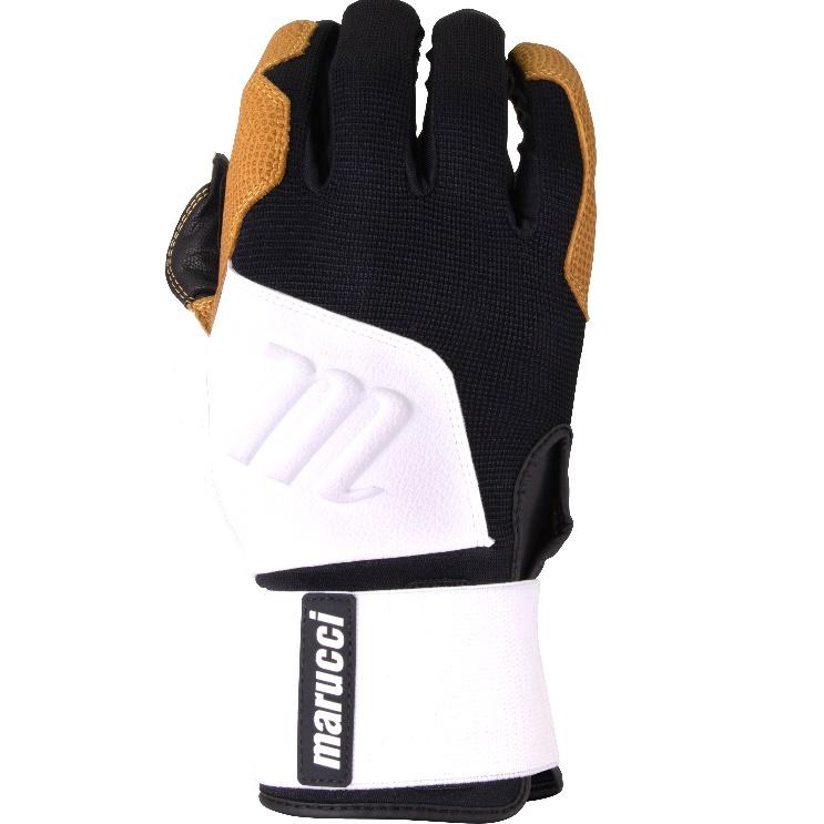 marucci-blacksmith-full-wrap-bg-white-black-batting-gloves-adult-medium MBGBKSMFW-WBK-AM   Extremely durable training glove inspired by heavy work gloves built to