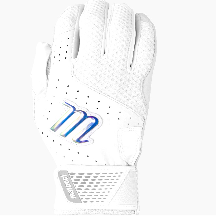 marucci-crest-batting-gloves-whitewhite-adult-medium-1-pair MBGCRST-W-AM Marucci  Durable genuine leather palm provides comfort and enhanced grip Dimpled mesh