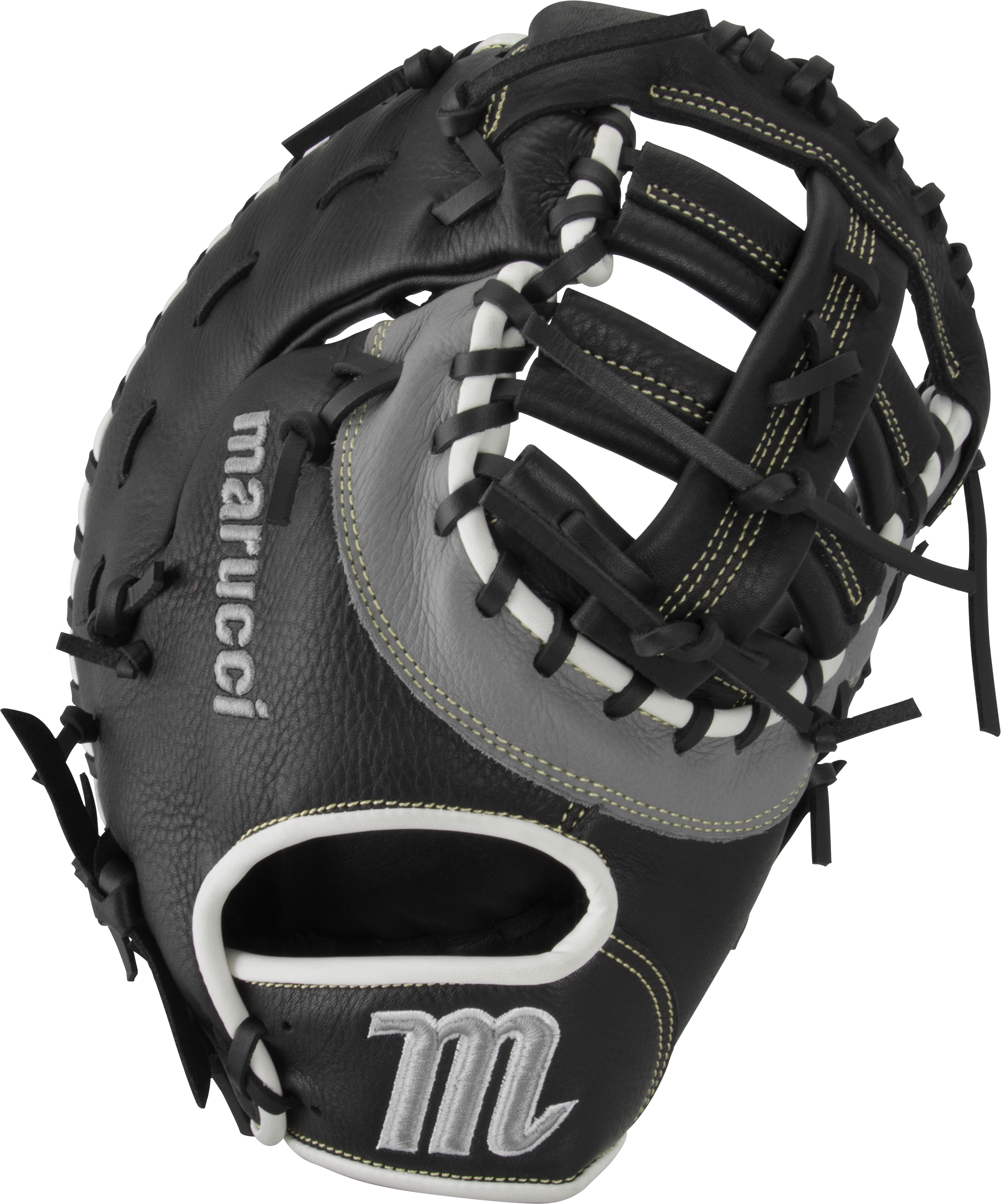 marucci-oxbow-ox3-first-base-mitt-baseball-glove-12-75-right-hand-throw MFGOX3-BKGY-RightHandThrow  849817099506 Full-grain cowhide leather shell Supple leather palm lining with added cushioning