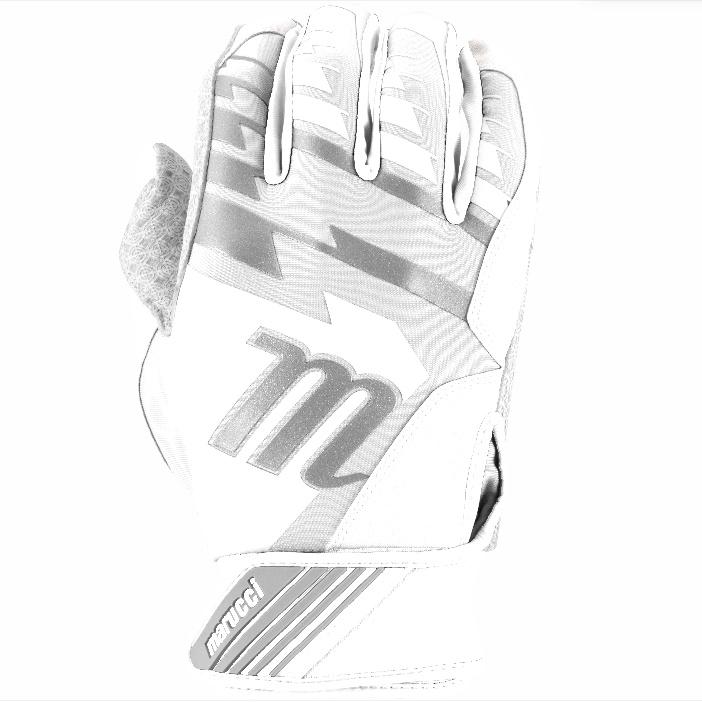 marucci-tesoro-batting-gloves-whitewhite-adult-medium-1-pair MBGTSRO-W-AM   Digitally embossed perforated Cabretta sheepskin palm provides maximum grip and durability