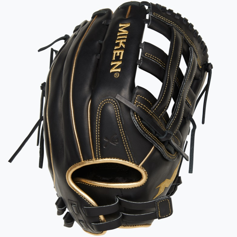 miken-gold-pro-black-slowpitch-softball-glove-13-in-right-hand-throw PRO130-BG-01-RightHandThrow  658925043321 13 Pattern Web Pro H Quality soft full-grain leather provides improved