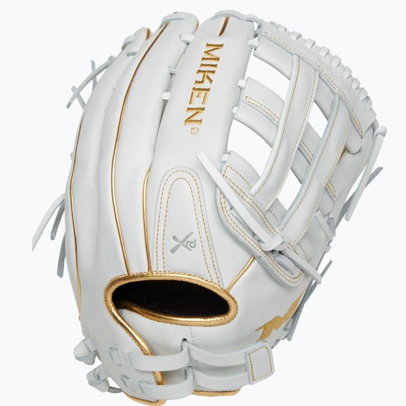 miken-gold-pro-white-slowpitch-softball-glove-13-in-right-hand-throw PRO130-WG-01-RightHandThrow  658925043345 13 Pattern Web Pro H Quality soft full-grain leather provides improved