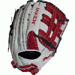 spanMiken Pro Series 13.5 slow pitch softball glove features soft, full-grain leather which provides improved shape retention and a great, game-ready feel. The Pro H Web pattern is an extremely strong web that provides ball snagging functionality, and the PORON XRD palm padding has been added to drastically reduce ball impact to your hand./span
