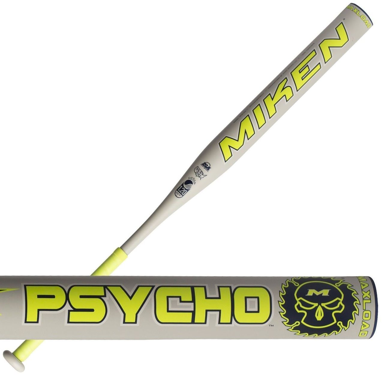 miken-psycho-max-usssa-slowpitch-softball-bat-mpsyco-34-inch-28-oz MPSYCO-3-28  658925040801 Miken one piece composite slowpitch USSSA softball bat.Miken slow pitch bats
