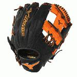 Mizuno 11.5 inch MVP Prime SE3 Baseball Glove GMVP1154PSE3 (Black-Orange, Right Hand Throw) : Patent pending Heel Flex Technology increases flexibility and closure. Center pocket design. Strong edge creates a more stable thumb and pinky. Smooth professional style. Oil Plus leather, the perfect balance of oiled softness for exceptional feel and firm control that serious players demand. Durable Steer soft palm liner. Matching outlined embroidered logo. Two tone lace.