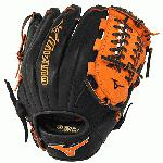 Mizuno GMVP1177PSE3 Baseball Glove 11.75 inch (Black-Orange, Right Hand Throw) : Patent pending Heel Flex Technology increases flexibility and closure. Center pocket design. Strong edge creates a more stable thumb and pinky. Smooth professional style. Oil Plus leather, the perfect balance of oiled softness for exceptional feel and firm control that serious players demand. Durable Steer soft palm liner. Matching outlined embroidered logo. Two tone lace