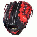 Mizuno GMVP1177PSE3 Baseball Glove 11.75 inch (Navy-Red, Right Hand Throw) : Patent pending Heel Flex Technology increases flexibility and closure. Center pocket design. Strong edge creates a more stable thumb and pinky. Smooth professional style. Oil Plus leather, the perfect balance of oiled softness for exceptional feel and firm control that serious players demand. Durable Steer soft palm liner. Matching outlined embroidered logo. Two tone lace