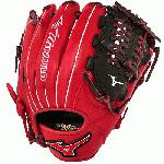 Mizuno GMVP1177PSE3 Baseball Glove 11.75 inch Red Black, Right Hand Throw