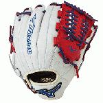 Mizuno GMVP1177PSE3 Baseball Glove 11.75 inch (Silver-Red-Royal, Right Hand Throw) : Patent pending Heel Flex Technology increases flexibility and closure. Center pocket design. Strong edge creates a more stable thumb and pinky. Smooth professional style. Oil Plus leather, the perfect balance of oiled softness for exceptional feel and firm control that serious players demand. Durable Steer soft palm liner. Matching outlined embroidered logo. Two tone lace
